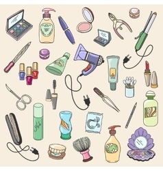 Beauty and cosmetic hand drawn items vector
