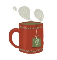 Cartoon cup of tea flat icon vector image