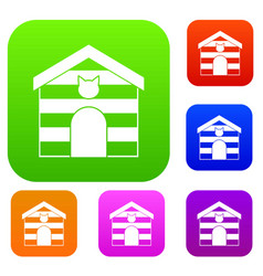cat house set color collection vector image
