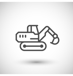 Crawler excavator line icon vector
