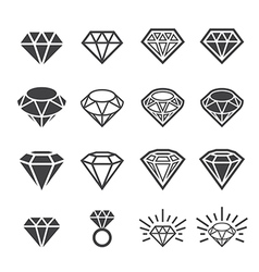 Diamond icon set vector