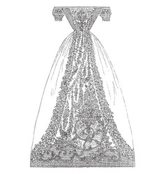 Dress is made out of muslin a finely woven cotton vector