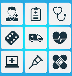 Drug icons set collection of database remedy vector