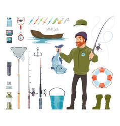 Fisherman elements set vector