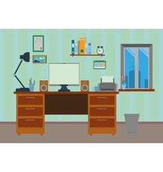 Flat Design Work Desk vector image