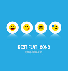 flat icon expression set of delicious food cross vector image vector image