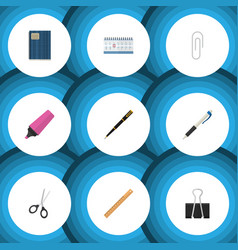 Flat icon stationery set of date block nib pen vector