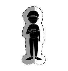 Gamer with virtual reality glasses vector