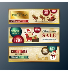 Gold christmas sale banners background vector