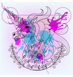 Hand drawn magic unicorn for adult coloring vector