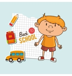 kid back to school on notebook paper isolated icon vector image