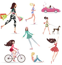 Lifestyle of fashion pretty girl walking with vector image
