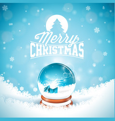 merry christmas with typography and magic snow vector image vector image