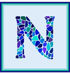 N - letter - green watercolor mosaic vector