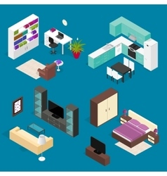 Room furniture set isometric view vector
