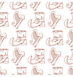 Seamless pattern with a harp and a leprechaun vector