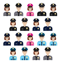 Set of policemen characters vector image vector image