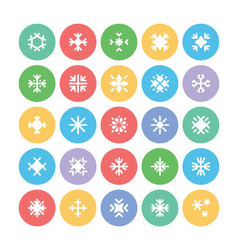 Snowflakes colored icons 2 vector