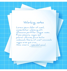 Stack of Papers on Blueprint vector image