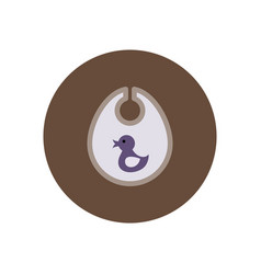 Stylish icon in color circle children bib duck vector