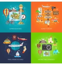 Travel Flat Decorative Icon Set vector image vector image