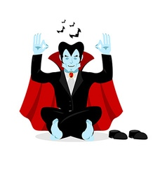 Vampire yoga dracula meditates on white background vector