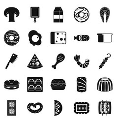 Yummy icons set simple style vector