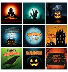 Multiple halloween background poster ad collection vector