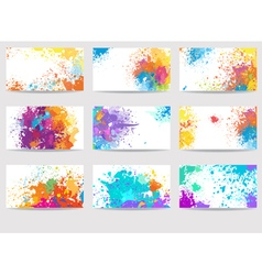 Business cards templates made of paint stains vector image