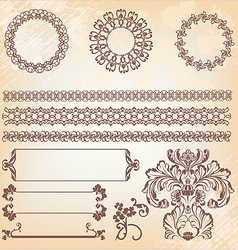 Collection of ornate page decor elements borders vector