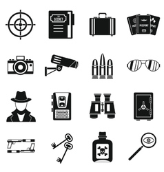 Spy tools icons set simple style vector