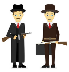 Gangsters flat isolated on white background vector