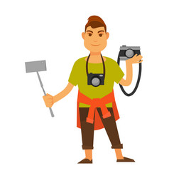 Modern photographer with modern and old equipment vector