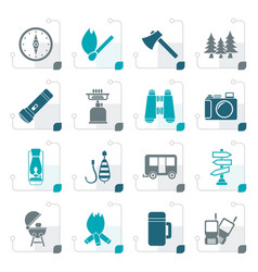 stylized camping travel and tourism icons vector image