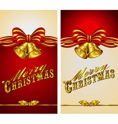 Christmas menu card bells vector