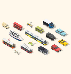 public transport vehicles collection vector image