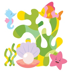 Cute sea characters composition vector