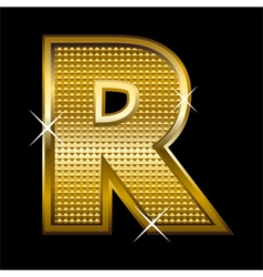 Golden font type letter R vector image