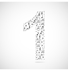 Number one made from music notes vector