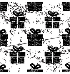 Gift box pattern grunge monochrome vector