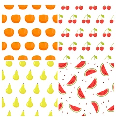 Seamless pattern set with fruits watermelon orange vector