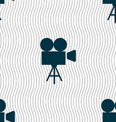 Video camera icon sign seamless pattern with vector