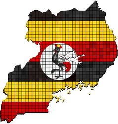Uganda map with flag inside vector