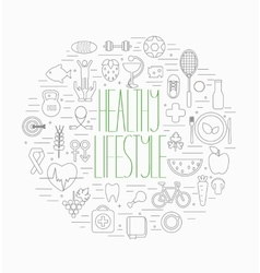 Healthy lifestyle symbols set vector