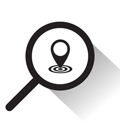 Magnifying glass with pointer icon vector