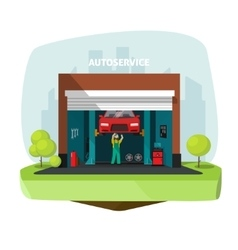 Car repair garage auto help service center vector