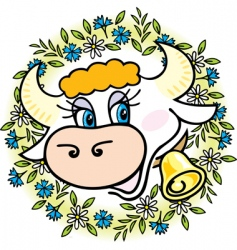 A good cow in flowers vector