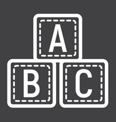 abc blocks line icon alphabet cubes and education vector image vector image
