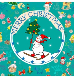 Christmas card over pattern vector image