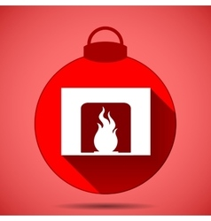Christmas icon with the silhouette of a fireplace vector